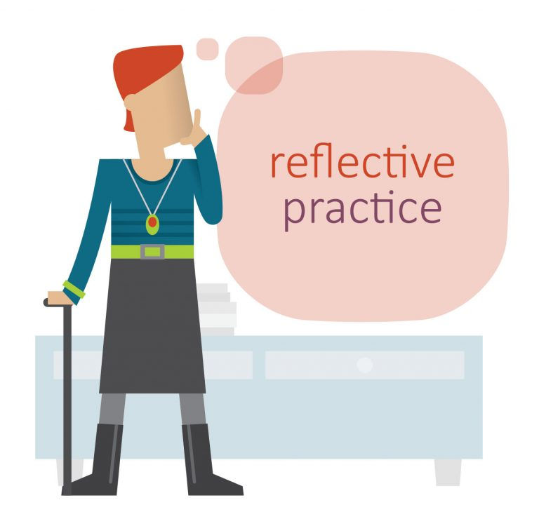 Stylised illustration of a woman with a walking stick standing and thinking - there's a speech bubble with the words 'reflective practice' next to her.