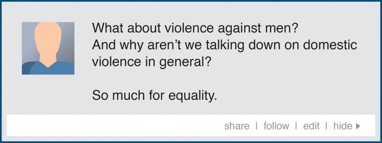 A stylised and fictional social media post that reads, 'What about violence against men? And why aren't we talking down on domestic violence in general? So much for equality.'