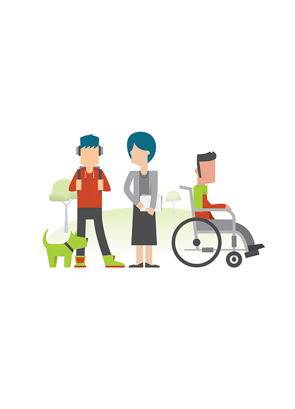 Stylised illustration of three people standing in a row, one is a young person with headphones on, one is an older person, one is a person in a wheelchair.