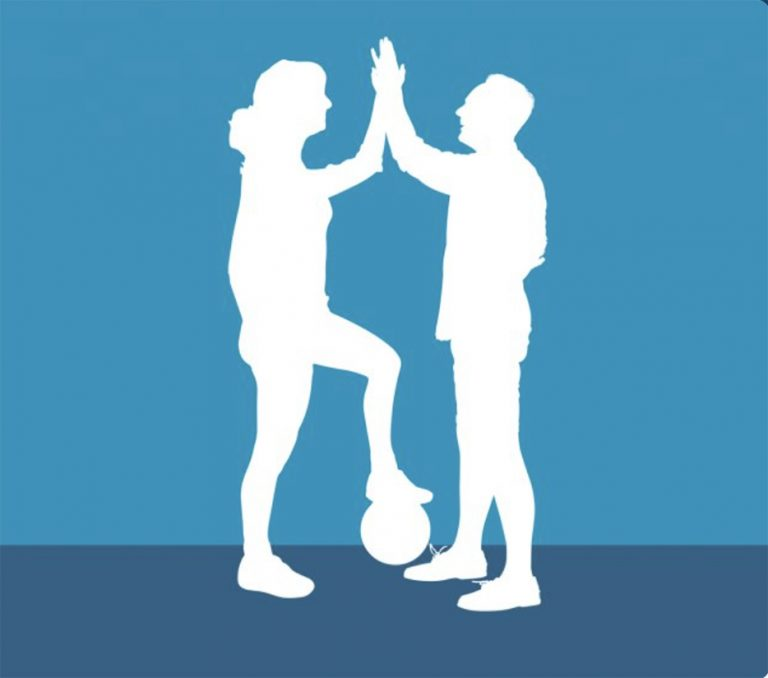 A graphic image of two soccer players in silhouette. The people are white and the background is blue. The two players, one with hair in a ponytail and left foot resting on a ball, the other with short hair, both standing in profile, high five each other.