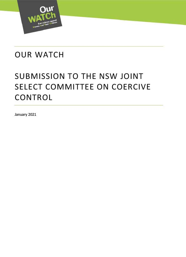 Cover of submission document with Our Watch branding and black title on white background.