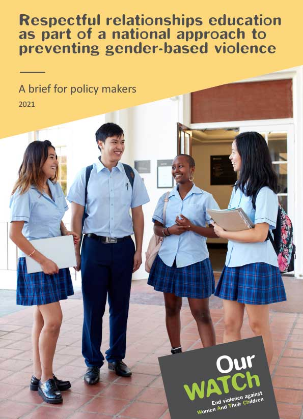 Cover of publication with image of school students in uniform stand around holding books and chatting.