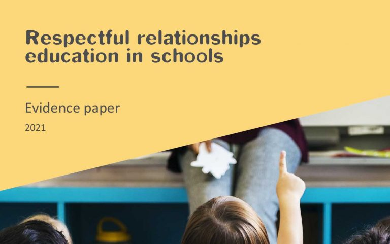 Cover of publication with image of primary school aged kids sitting down in a classroom in front of a teacher. We can see their backs and one child has their hand up to say something.