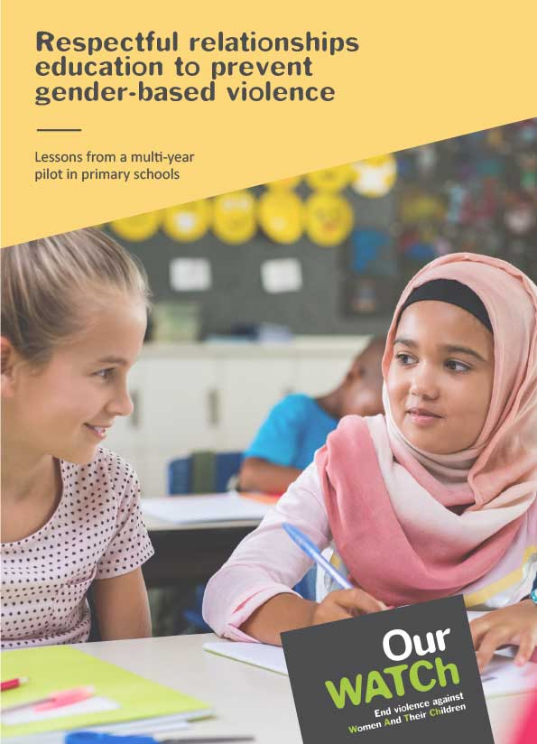 Cover of the publication showing two primary school-aged girls working together at a school desk. One is wearing a headscarf.