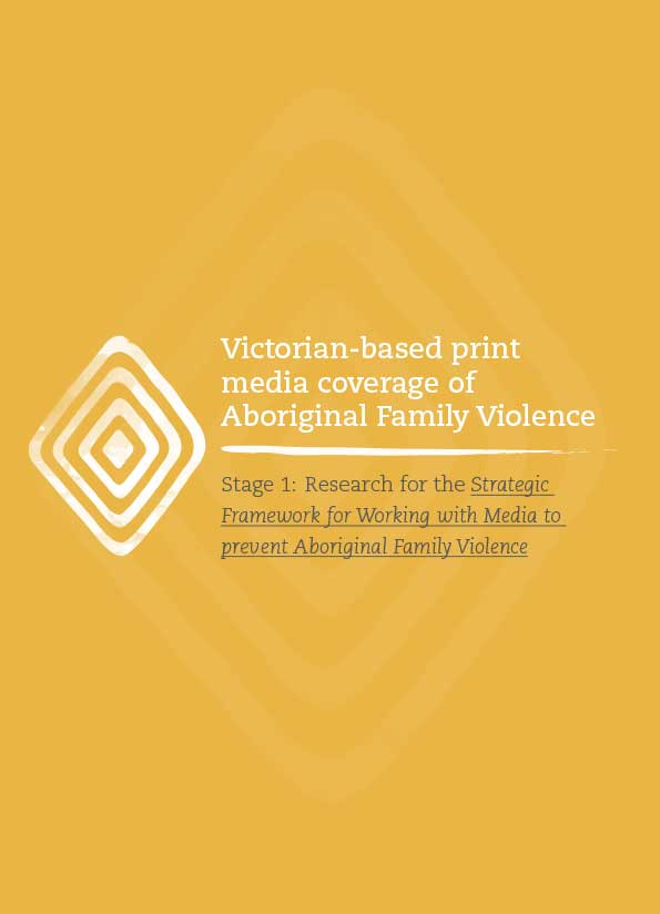 Publication cover is orange with a white concentric diamond shape which is an Aboriginal design at left with the title in black and white text.