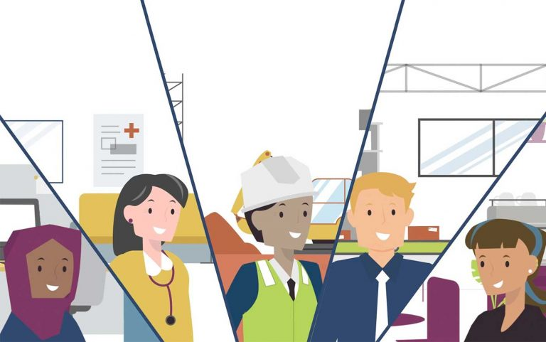 A still from the animation of a group of workers from different fields.